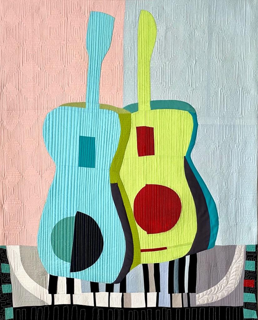 Two guitars art quilt